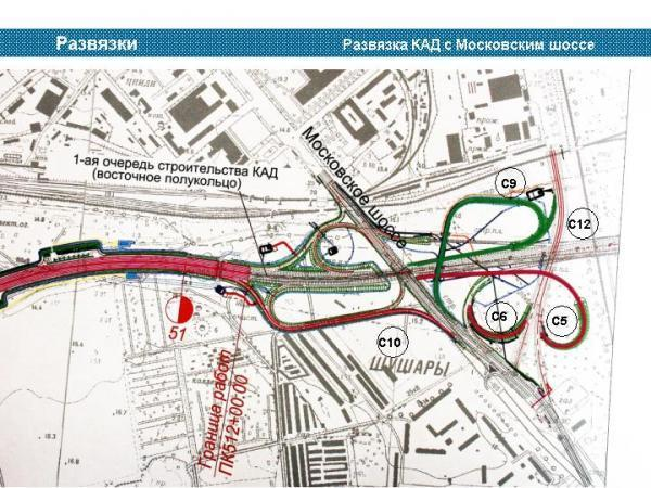 Развязка КАД с Московским шоссе Места на карте мира.