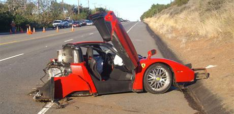 X 15 Crash Telephone Pole/Ferarri crash - Malibu, California