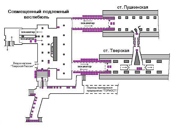 Ниже представлена схема размещения рекламы на станции метро Пушкинская.  На схеме номерами указаны места под рекламу.