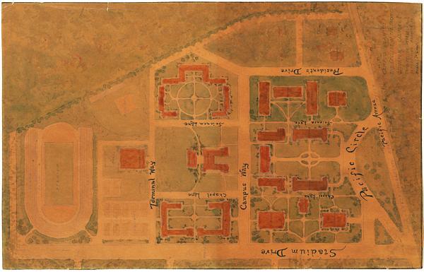 Historic University Of The Pacific Map Stockton California