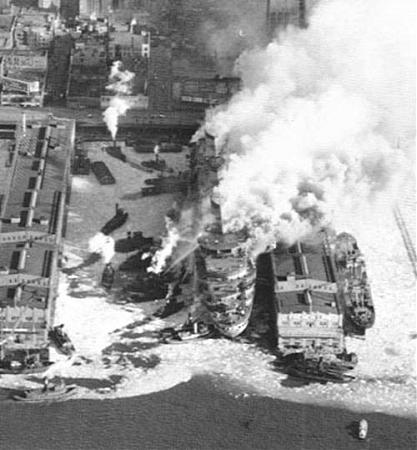 Image result for ss normandie on fire