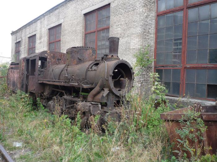 Abandoned shut down defunct steam locomotive