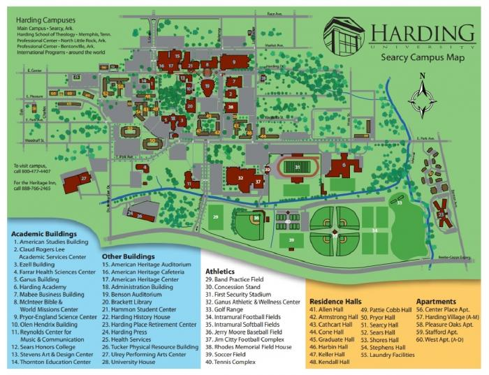 harding university campus map Harding University Searcy Arkansas harding university campus map