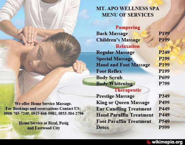 Mt apo wellness spa angono branch angono for 8 salon taytay rizal