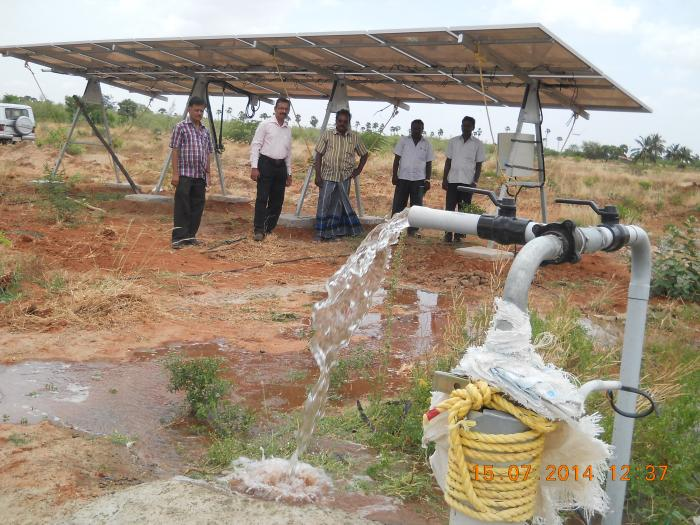 Solar Powered Pumping System With Tracking Facility Bore Well