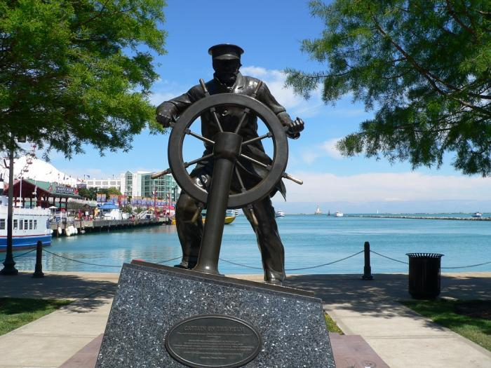 Captain On The Helm Statue Navy Pier Chicago Chicago