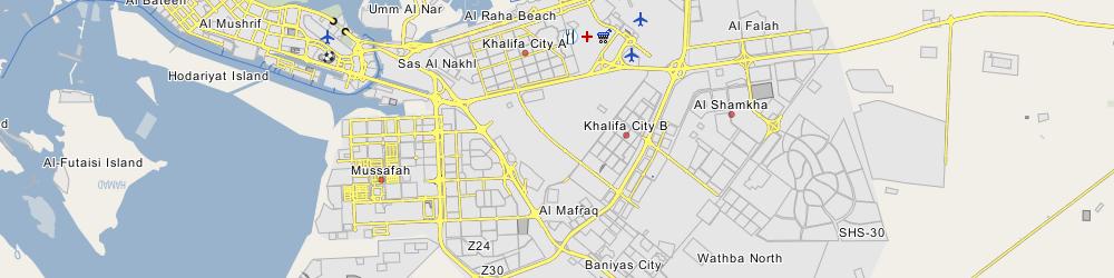 Map Of Abu Dhabi With Neighborhoods Browse Info On Map Of