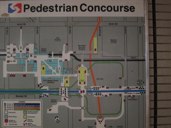 Suburban Station Map SEPTA   Transfer between City Hall (BSL) and Suburban Station  Suburban Station Map