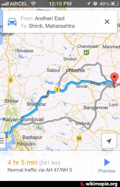 Shirdi Route Map Ghoti Bypass (Mumbai to Shirdi Route Via Ghoti Village (Gaon))