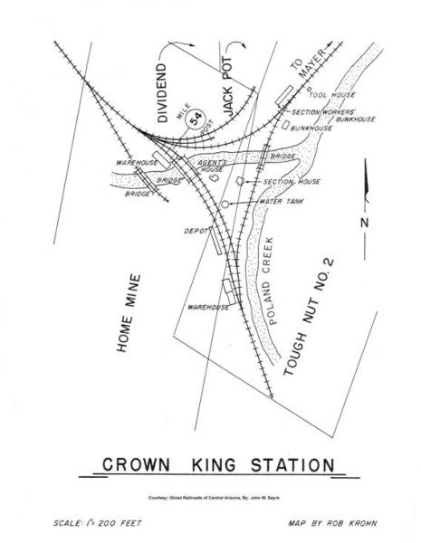 Map Of Crown King Arizona.Approximate Location Of Crown King Depot Bradshaw Mountain Railway